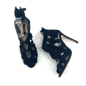 Zara Suede Black Open Toe Heel 38
